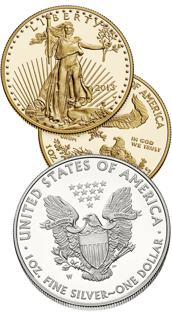 gold and silver americn eagle coins